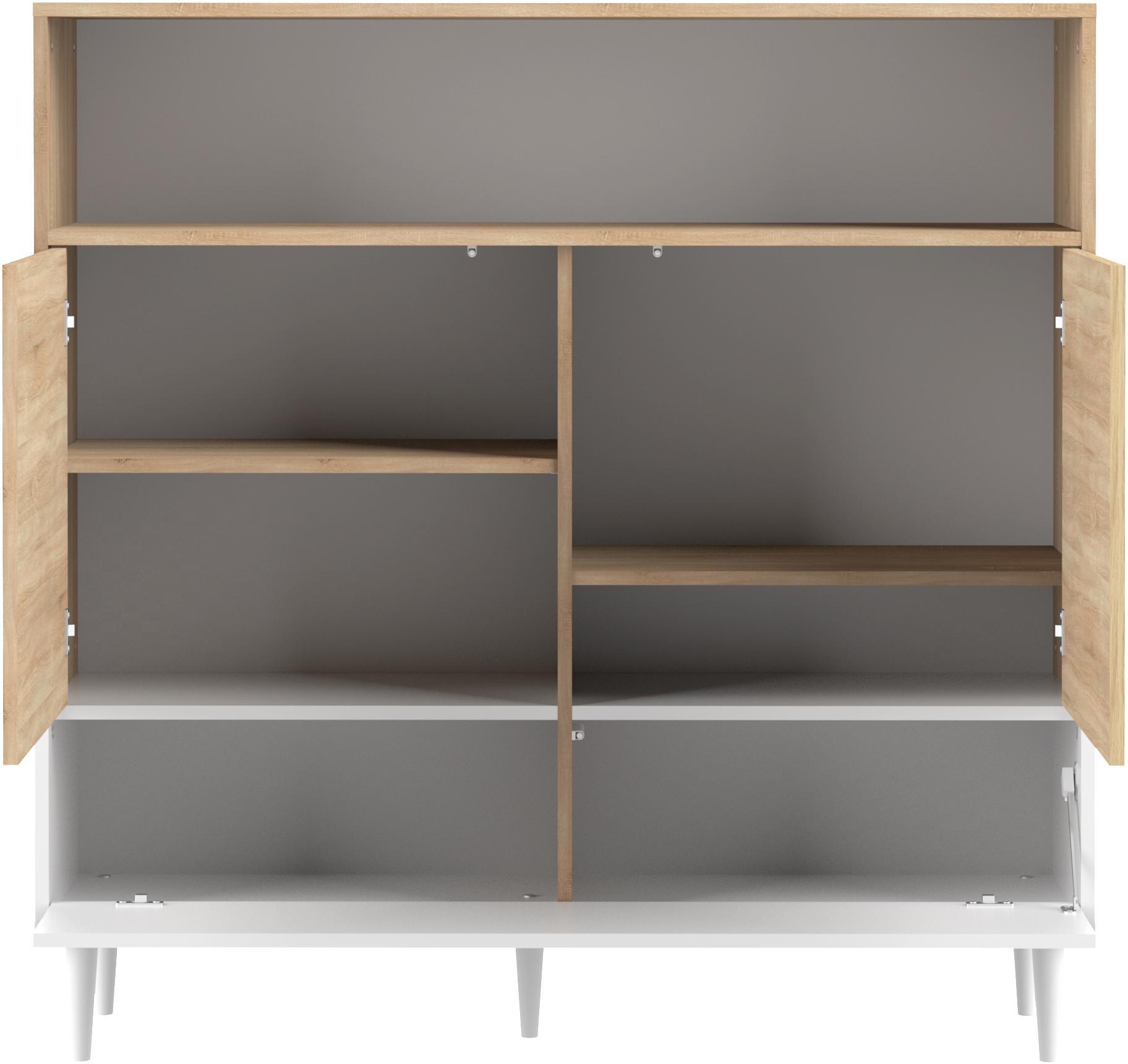 Highboard Horizon im Skandi Design, Korpus: Spanplatte, melaminbeschi, Füße: Buchenholz, massiv, lacki, Eichenholz, Weiß, 120 x 121 cm