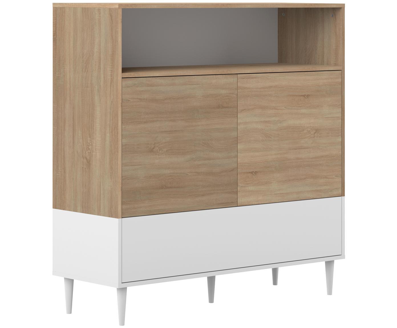 Wysoka komoda scandi Horizon, Korpus: płyta wiórowa pokryta mel, Nogi: lite drewno bukowe, lakie, Drewno dębowe, biały, S 120 x W 121 cm