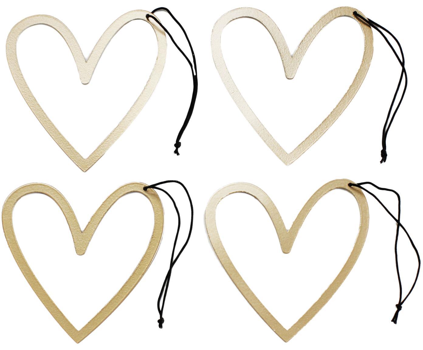Decoratieve hangers Heart, metaal, 4 stuks, Roségoudkleurig, zwart, 8 x 9 cm