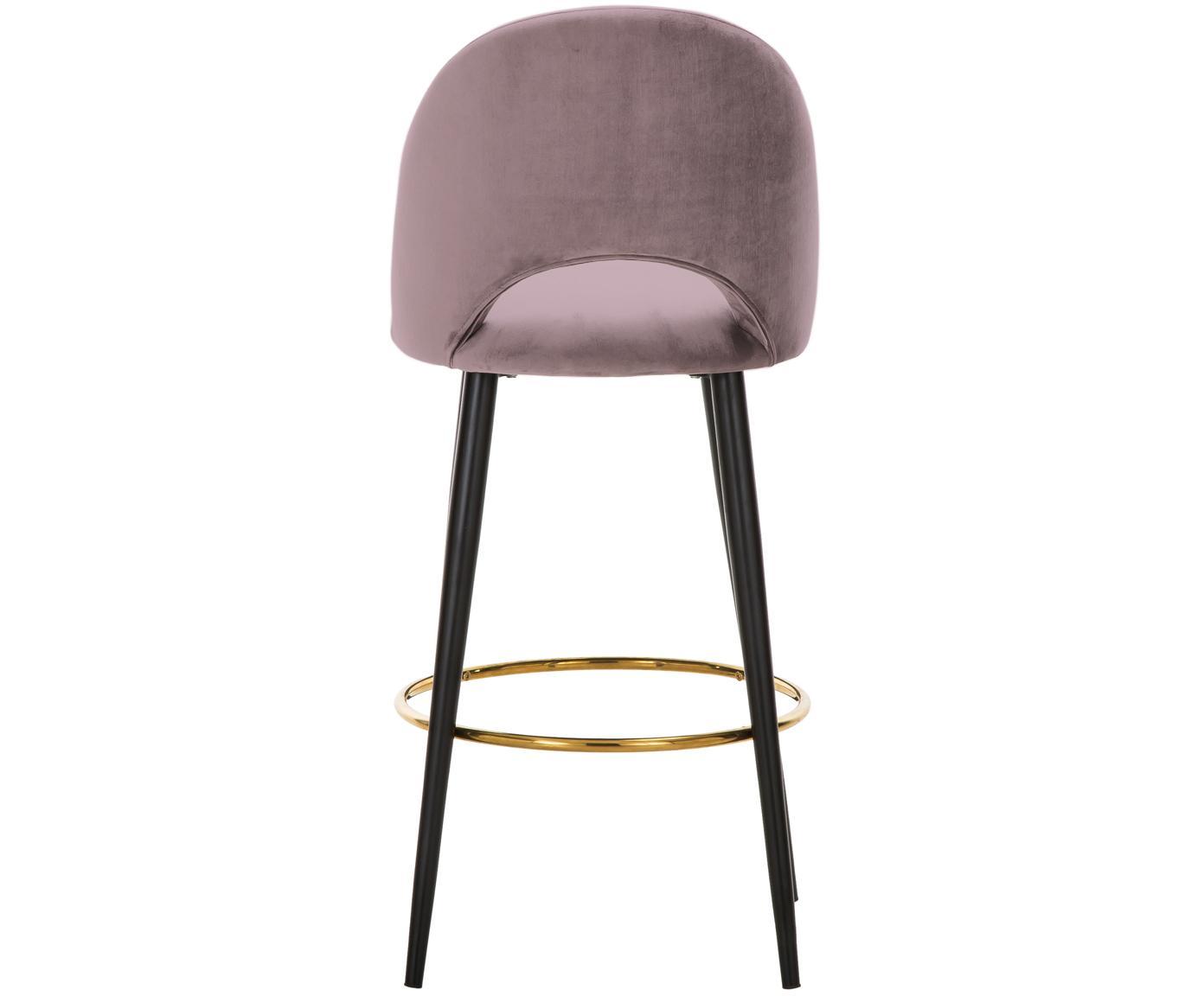 Krzesło barowe z aksamitu Rachel, Tapicerka: aksamit (poliester) 5000, Nogi: metal malowany proszkowo , Aksamitny mauve, S 48 x W 110 cm