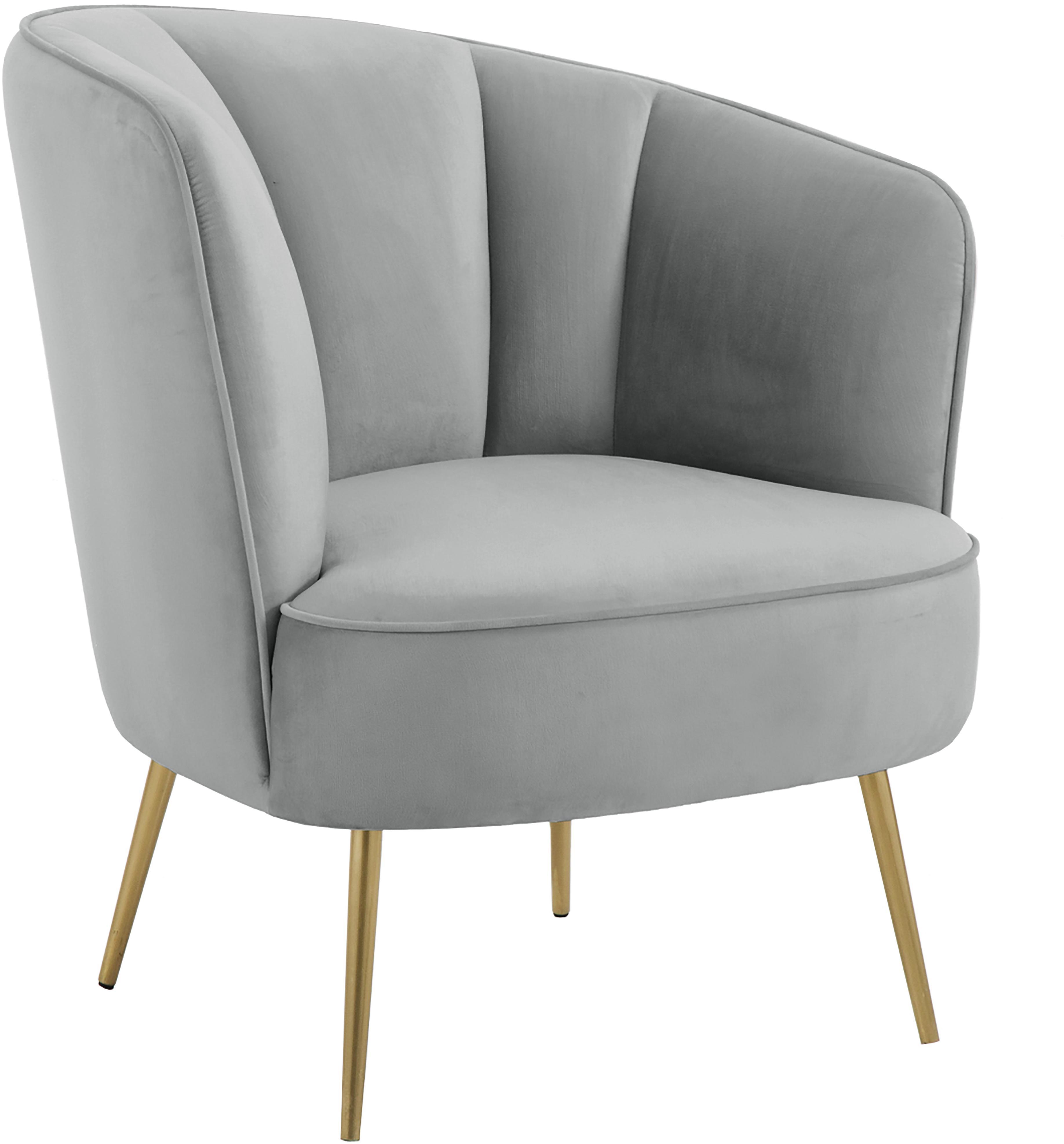 Samt-Sessel Louise, Bezug: Samt (Polyester) 30.000 S, Füße: Metall, beschichtet, Bezug: Grau Füße: Goldfarben, glänzend gebürstet, B 76 x T 74 cm