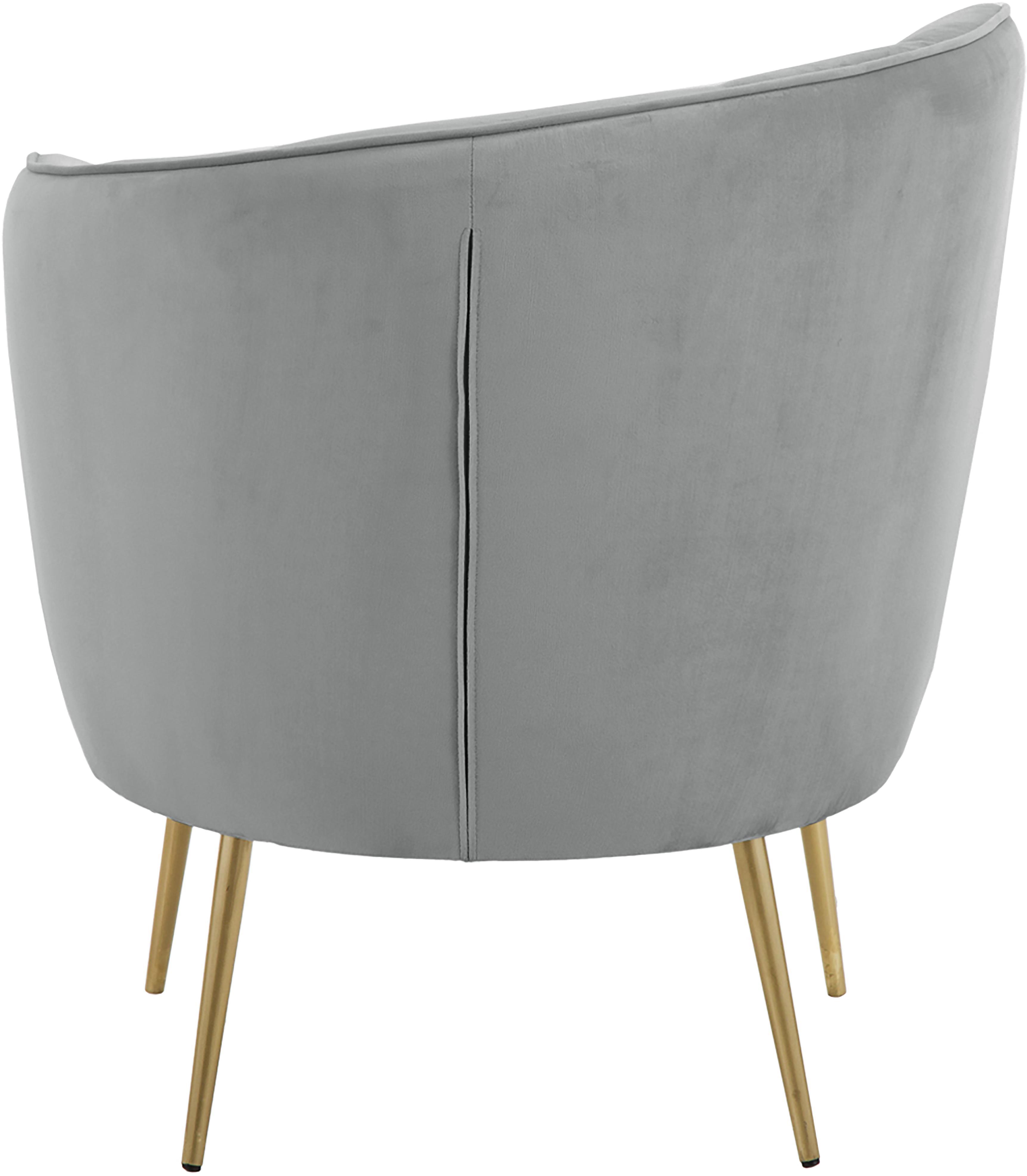 Fauteuil en velours gris clair Louise, Revêtement: gris Pieds: couleur dorée, brillant brossé
