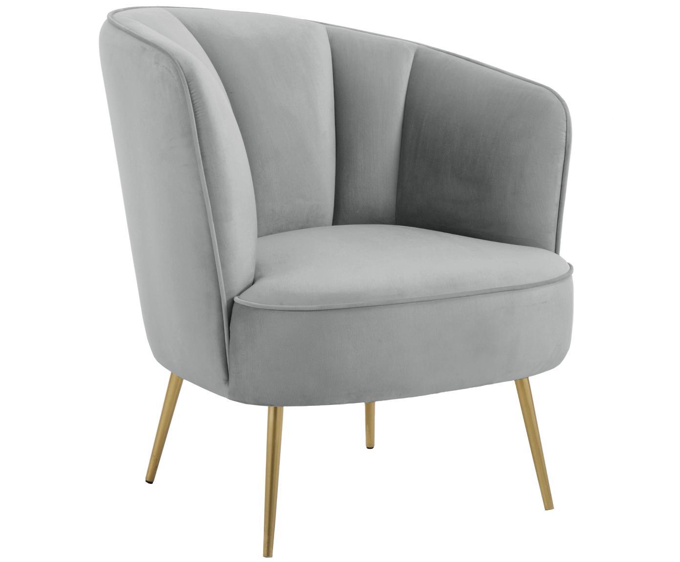 Fluwelen fauteuil Louise, Bekleding: fluweel (polyester), Poten: gecoat metaal, Lichtgrijs, B 76 x D 74 cm