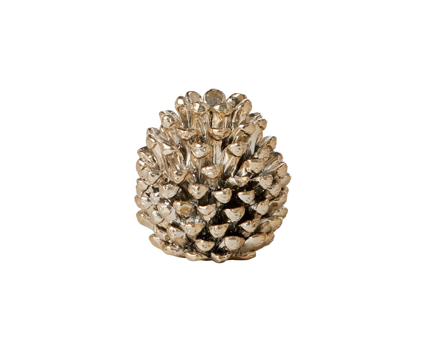 Portacandela a forma di pigna Serafina Cone, Poliresina, Dorato, Ø 6 x Alt. 6 cm
