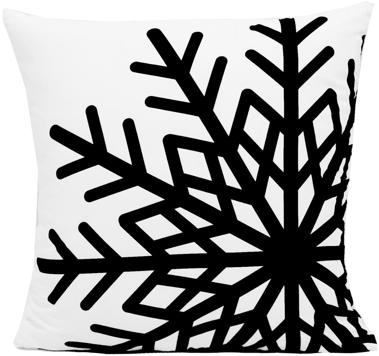 Kissenhülle Snowflake mit Schneeflockenmotiv, Polyester, Schwarz, Weiß, 45 x 45 cm