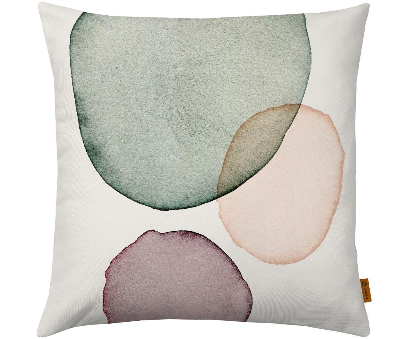 Kussenhoes Calm met geometrisch Print in aquarellook, Polyester, Wit, groen, lila, zalmkleurig, 40 x 40 cm