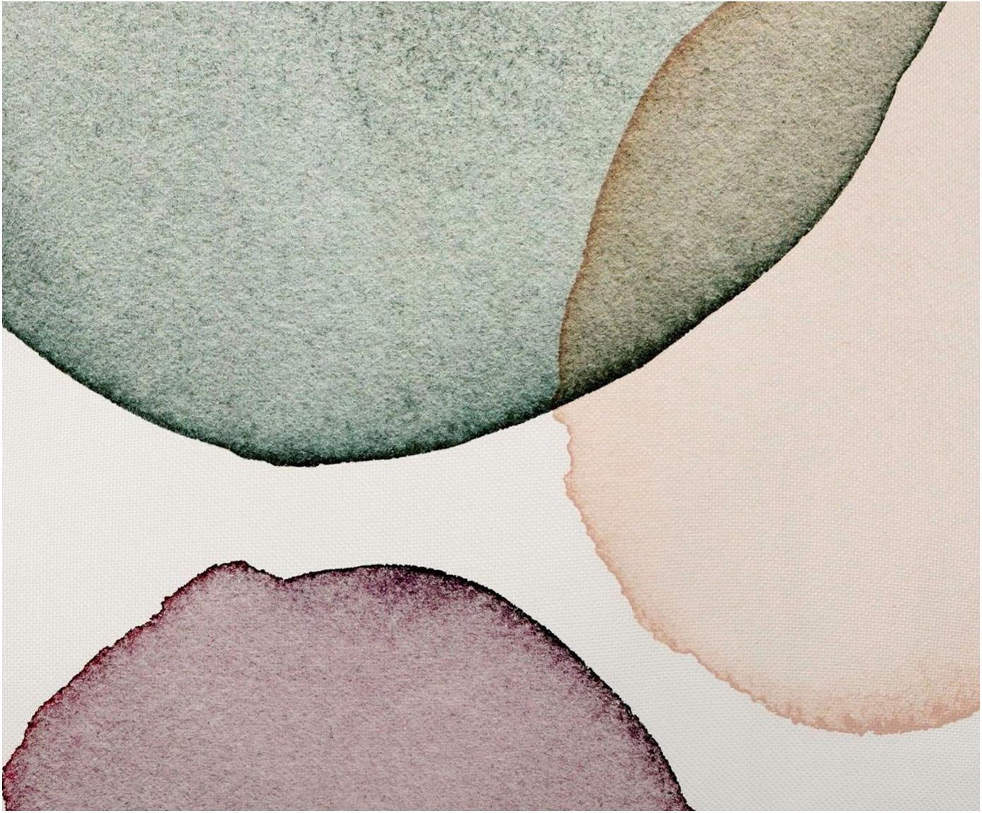 Housse de coussinà imprimé géométrique aspect aquarelle Calm, Blanc, vert, lilas, couleur saumon