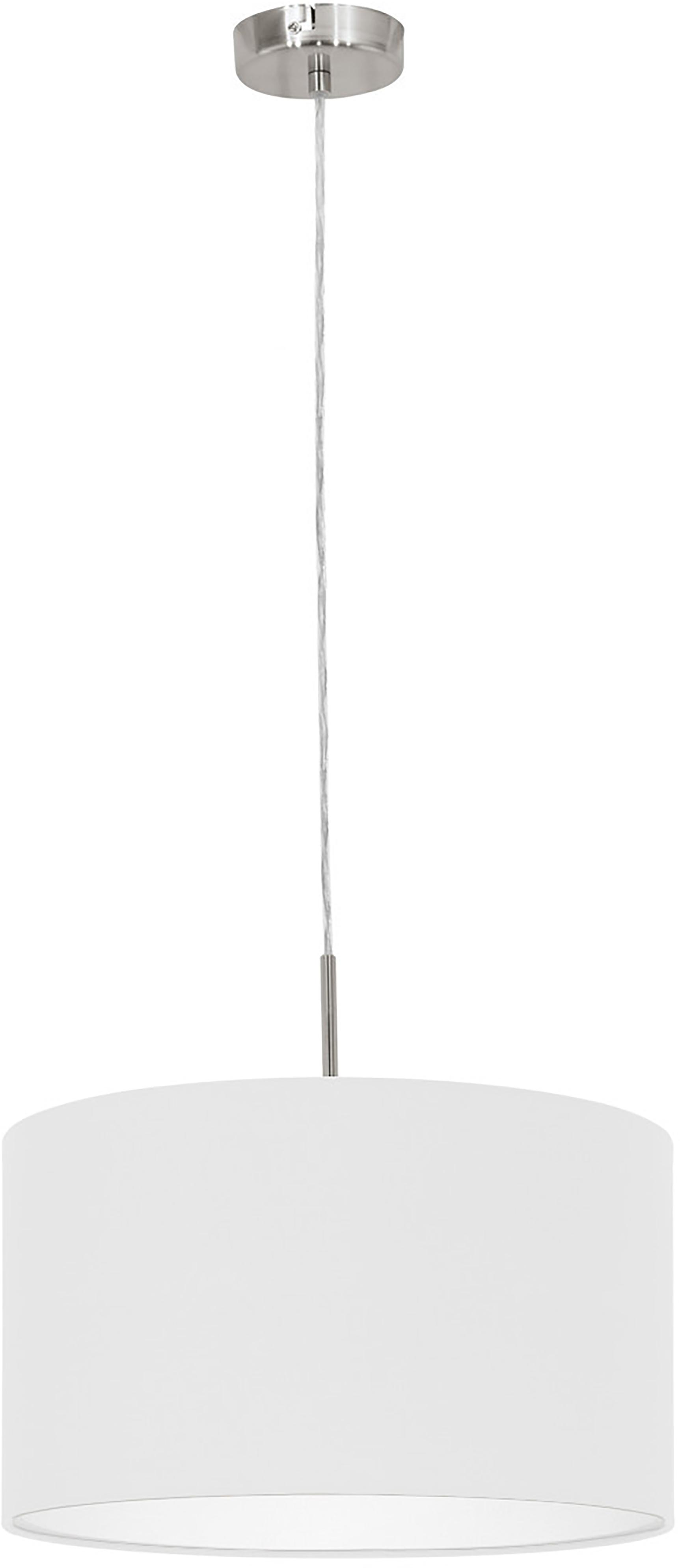 Lampada a sospensione Parry, Baldacchino: metallo nichelato, Paralume: tessuto, Argentato, Ø 38 x Alt. 22 cm