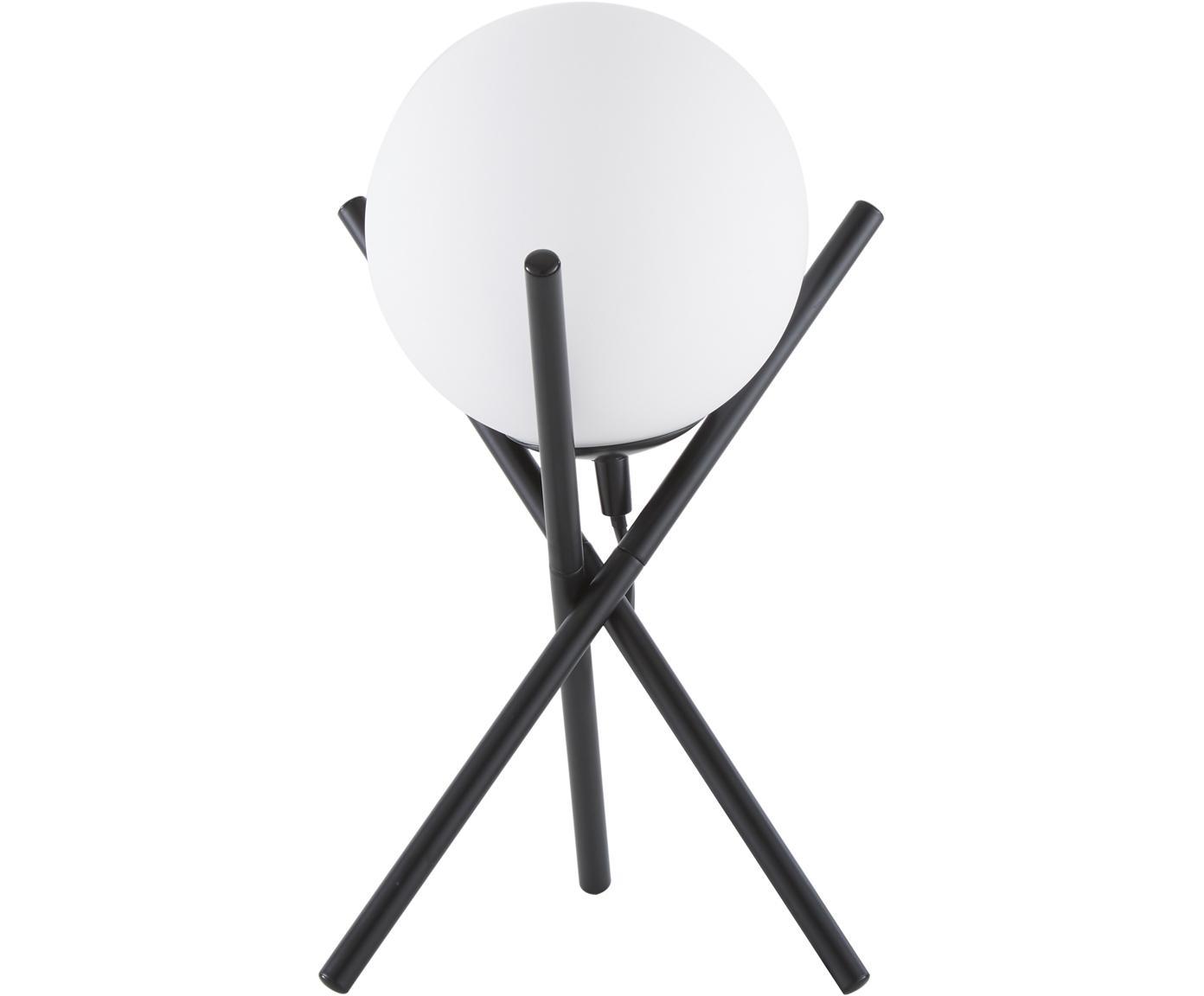Tafellamp Erik, Lampenkap: glas, Lampvoet: gepoedercoat metaal, Wit, zwart, Ø 15 x H 33 cm