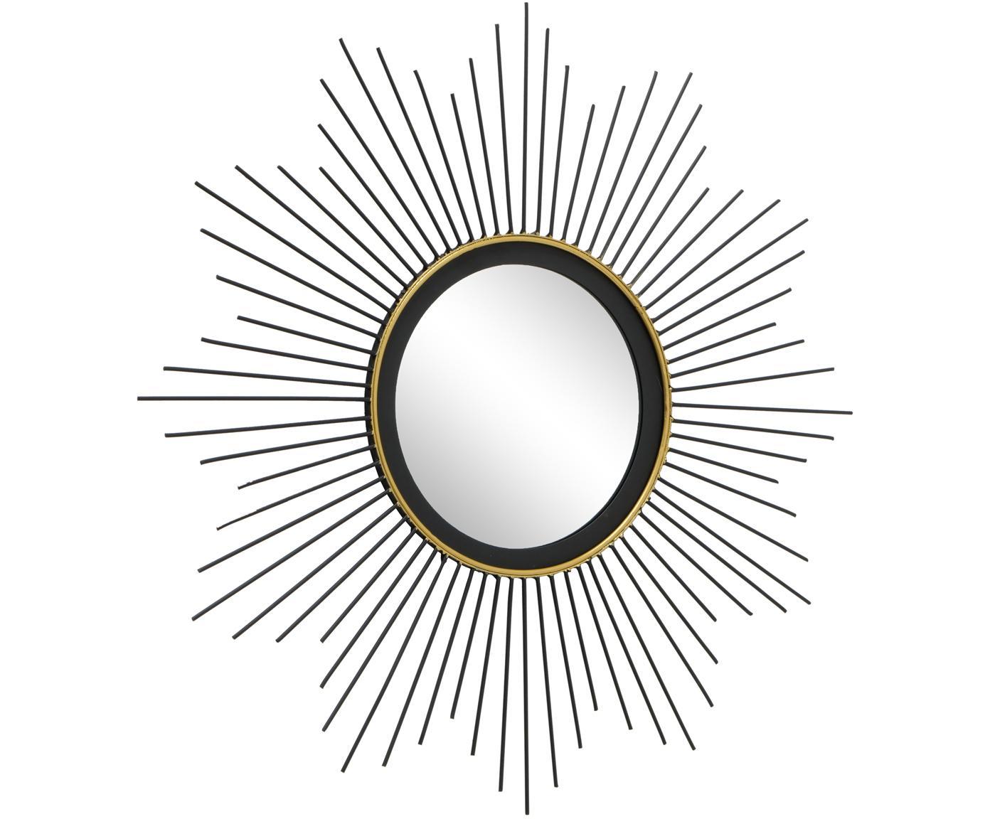 Runder Wandspiegel Yoko aus Metall, Metall, Spiegelglas, Schwarz, Ø 50 cm