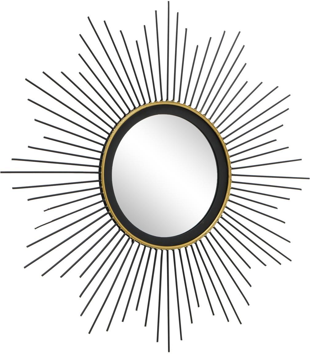 Okrągłe lustro ścienne z metalu Yoko, Czarny, Ø 50 cm