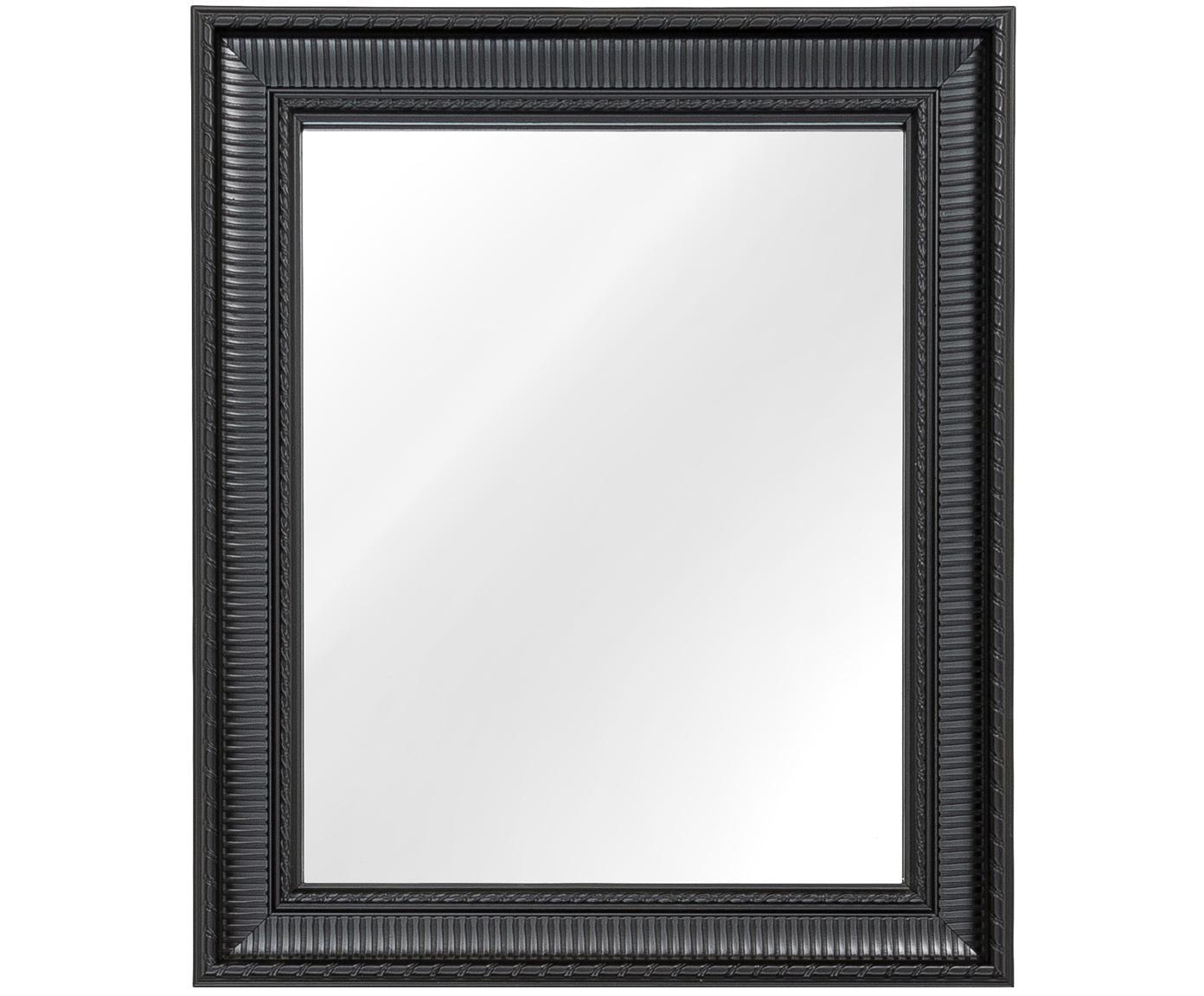 Rechthoekige wandspiegel Paris met zwarte lijst, Frame: polyurethaan, Frame: zwart. Spiegelvlak: spiegelglas, 52 x 62 cm