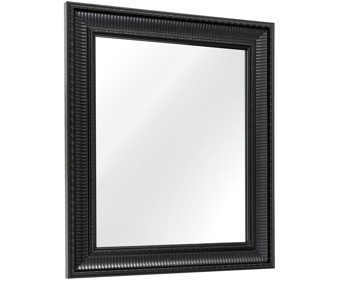 Prostokątne lustro ścienne z tworzywa sztucznego Paris, Rama: czarny Lustro: szkło lustrzane, S 52 x W 62 cm