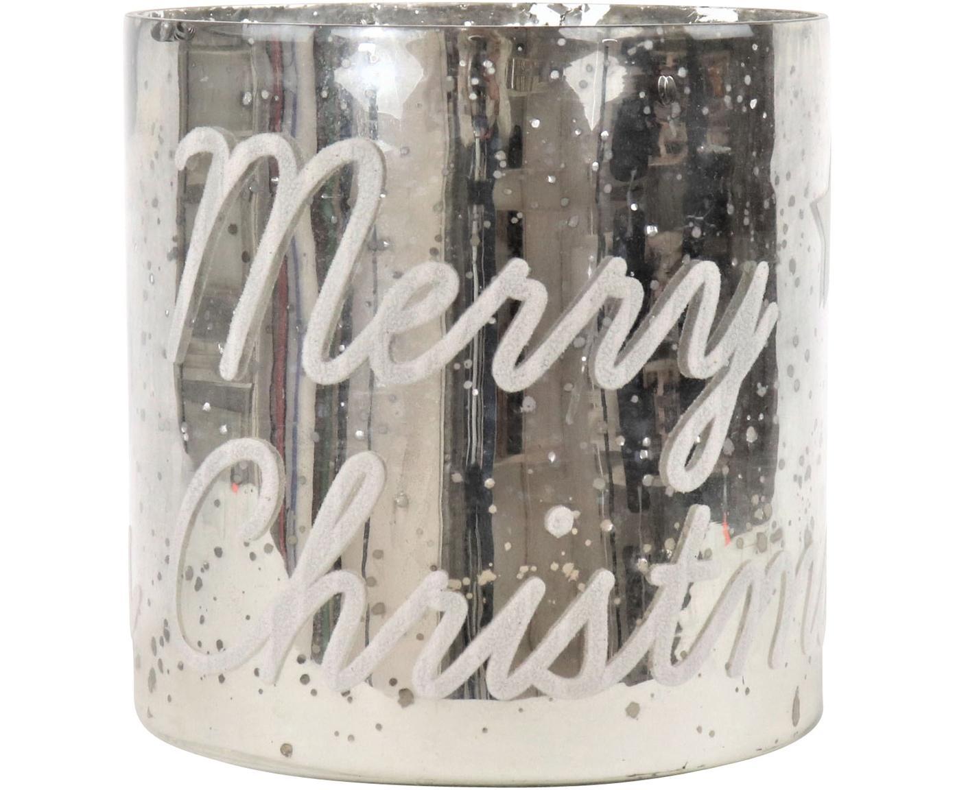 Windlicht Merry Christmas , Glas, Silberfarben, Ø 20 x H 20 cm