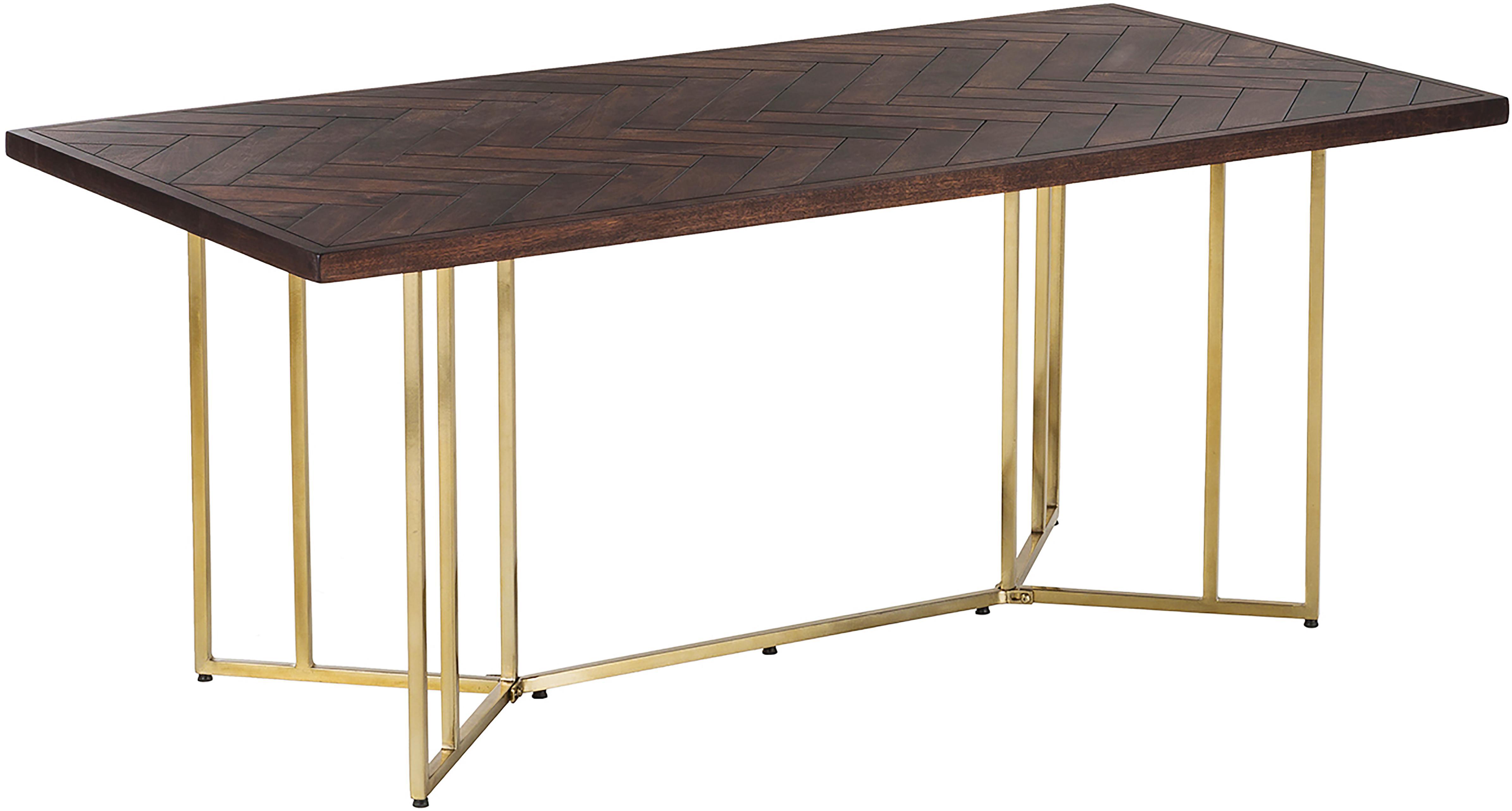 Stół do jadalni z litego drewna w jodełkę Luca, Blat: drewno mangowe, Stelaż: metal powlekany, Blat: drewno mangowe,  ciemny lakierowany Stelaż: odcienie złotego, S 180 x G 90 cm