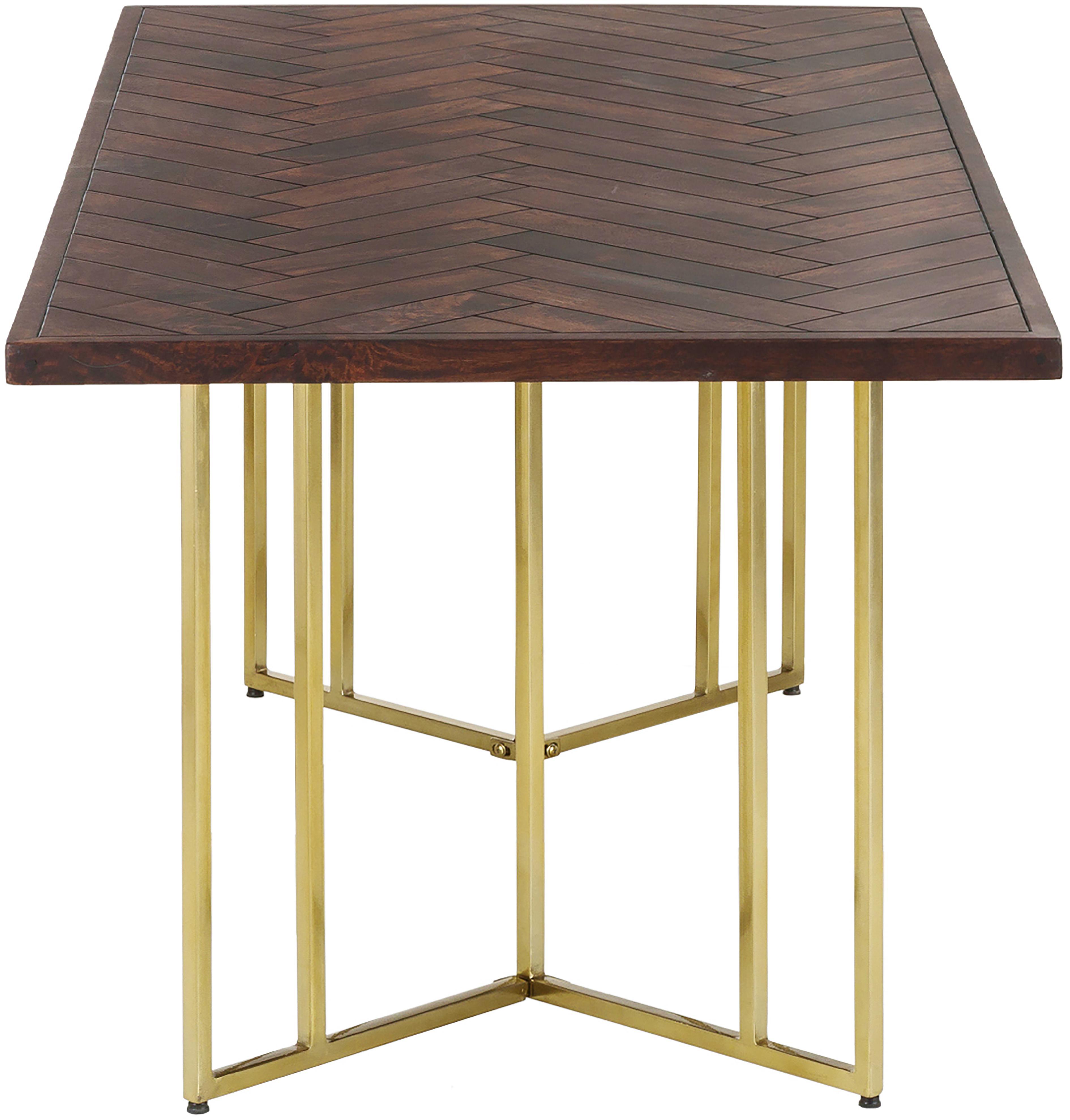 Table bois massif style art déco Luca, Plateau: bois de manguier, laqué foncé Structure: couleur dorée