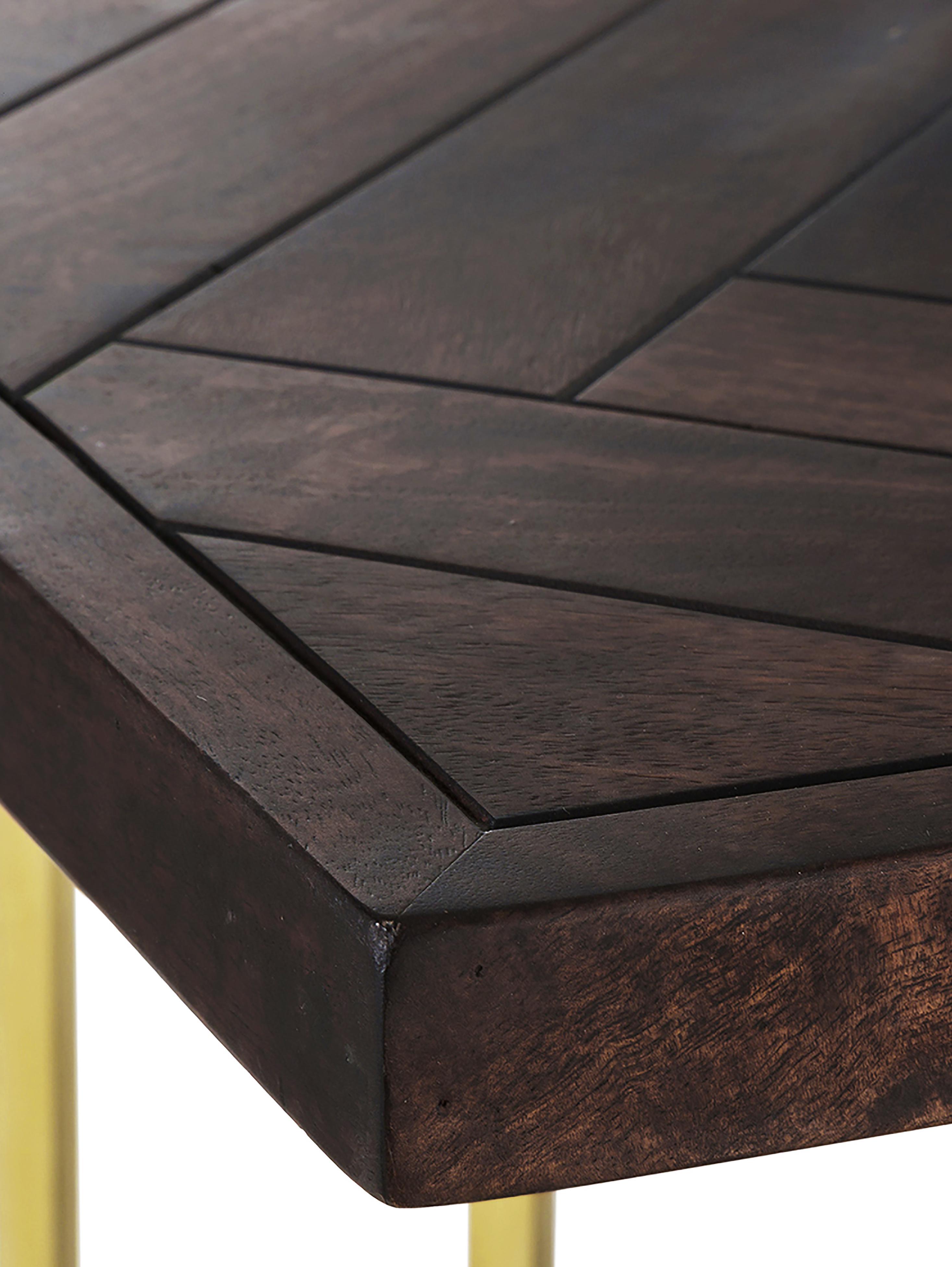 Massivholz Esstisch Luca mit Fischgrätmuster, Tischplatte: Massives Mangoholz, Gestell: Metall, beschichtet, Tischplatte: Mangoholz, dunkel lackiertGestell: Goldfarben, B 180 x T 90 cm