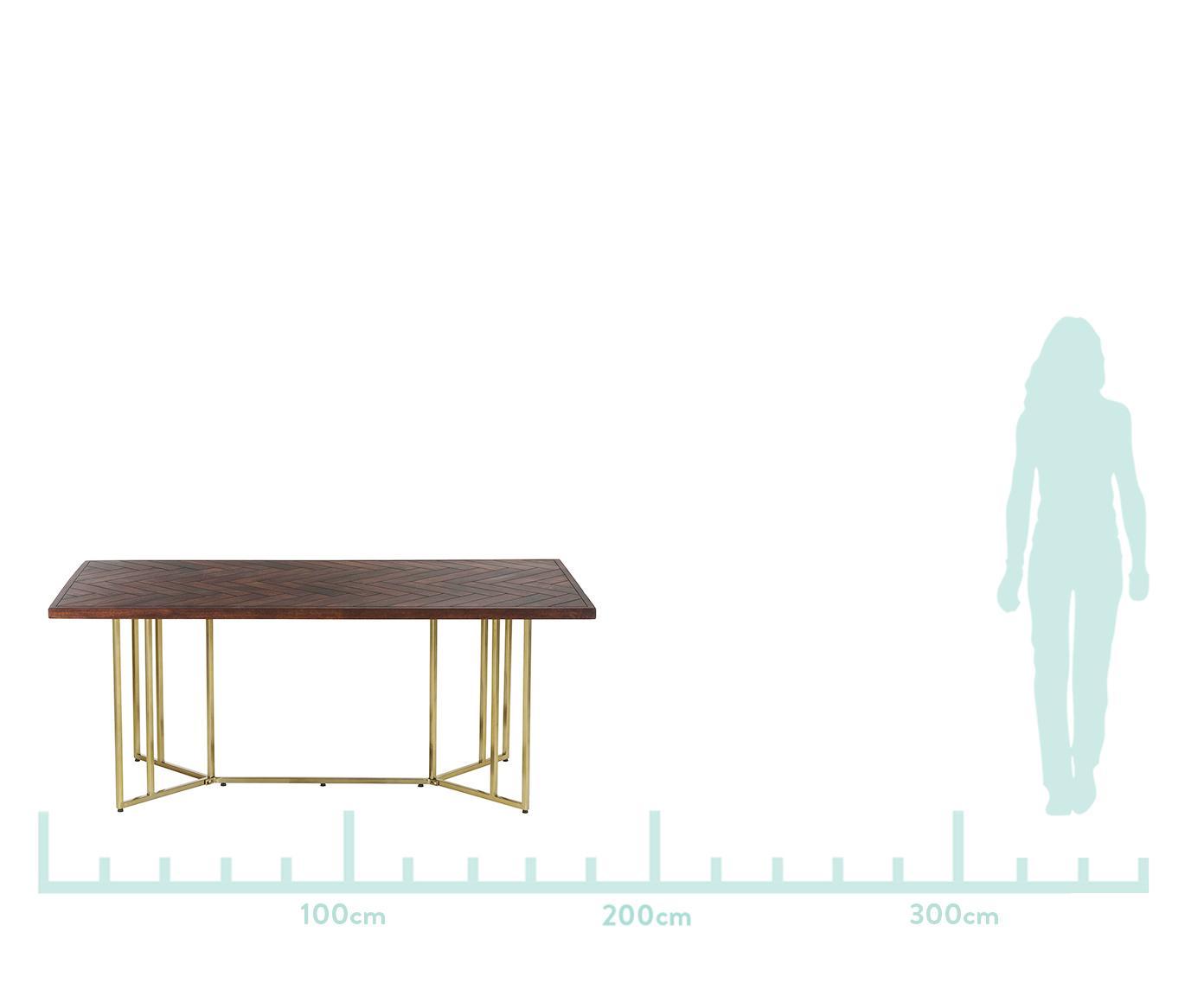 Mesa de comedor Luca, tablero de madera maciza, Tablero: madera de mango maciza, p, Estructura: metal recubierto, Tablero: madera de mango, lacado oscuro Estructura: dorado, An 220 x F 100 cm