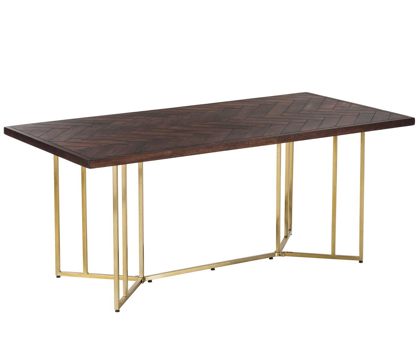 Massivholz Esstisch Luca mit Fischgrätmuster, Tischplatte: Massives Mangoholz, Gestell: Metall, beschichtet, Tischplatte: Mangoholz, dunkel lackiert Gestell: Goldfarben, B 180 x T 90 cm