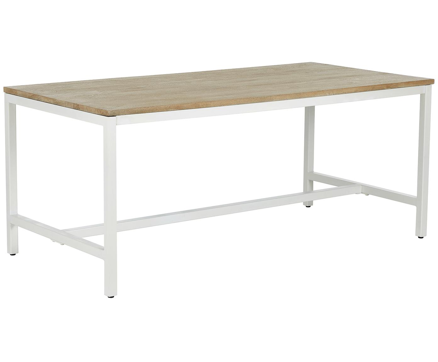 Mesa de comedor Raw, tablero de madera maciza, Tablero: madera de mango maciza, c, Estructura: metal con pintura en polv, Tablero: madera de mango Estructura: blanco mate, An 180 x F 90 cm