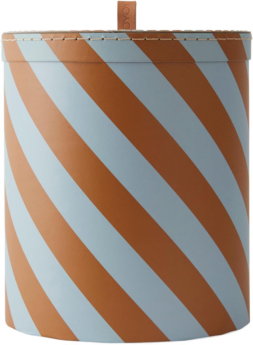 Pudełko do przechowywania Cecila, Tektura, skóra, Niebieski, brązowy, Ø 23 x W 26 cm
