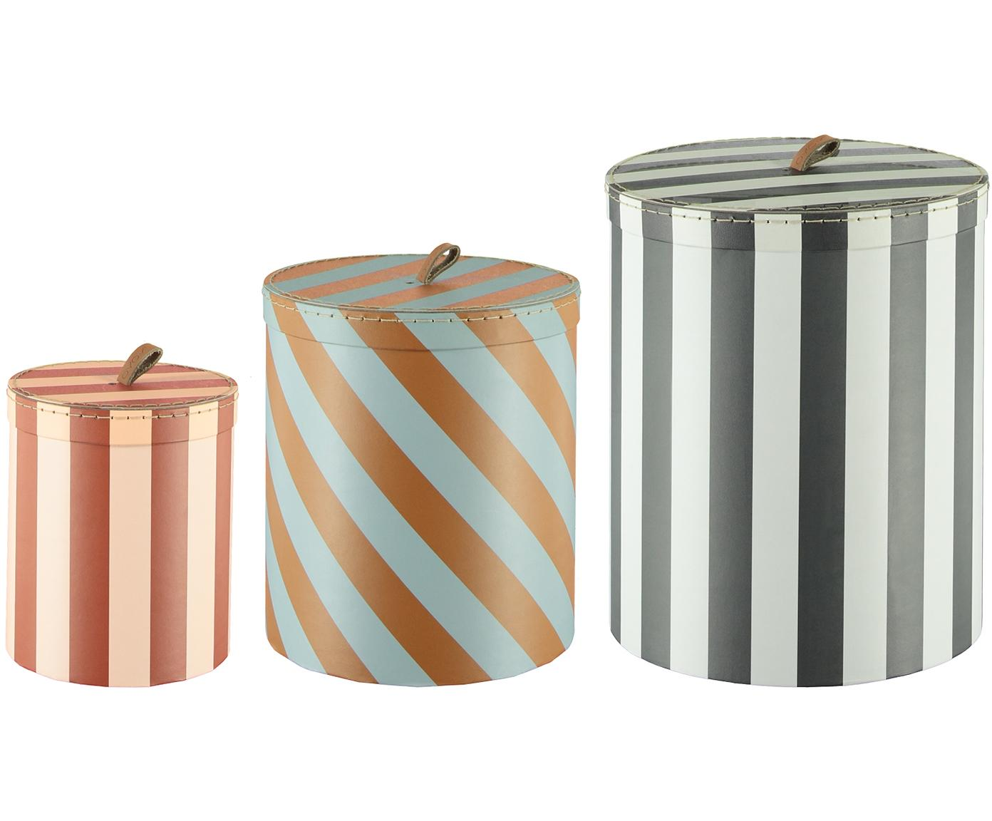 Aufbewahrungsbox Cecila, Karton, Leder, Blau, Braun, Ø 23 x H 26 cm
