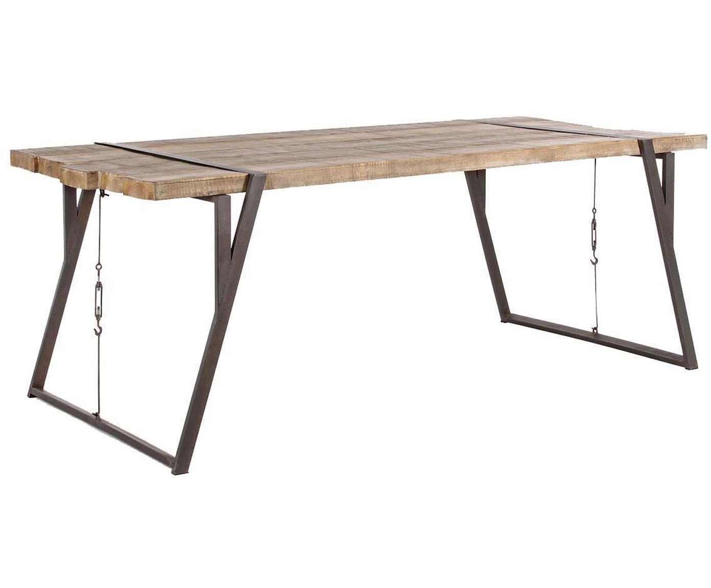 Mesa de comedor Blocks, Estructura: hierro, Tablero: madera de abeto, Negro, An 200 x F 54 cm