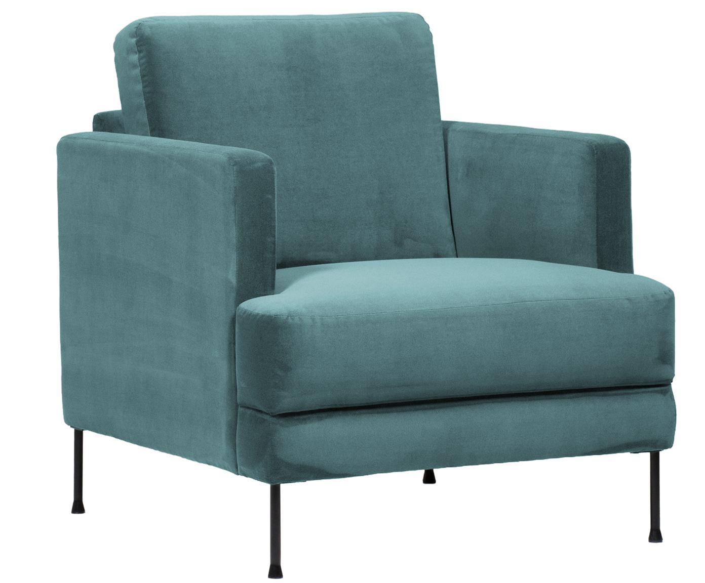 Fluwelen fauteuil Fluente, Bekleding: fluweel (hoogwaardig poly, Frame: massief grenenhout, Poten: gelakt metaal, Turquoise, B 76 x D 83 cm