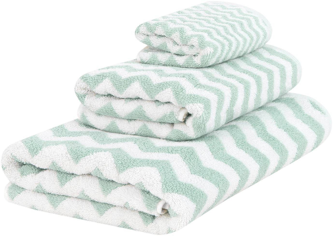 Handtuch-Set Liv mit Zickzack-Muster, 3-tlg., Mintgrün, Cremeweiß, Sondergrößen