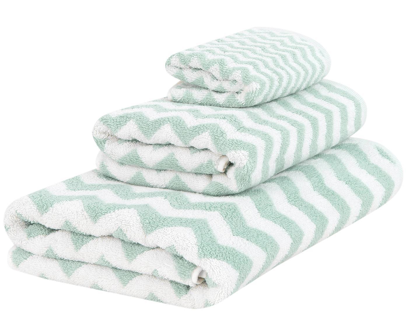 Set de toallas Liv, 3pzas., Verde menta, blanco crema, Tamaños diferentes