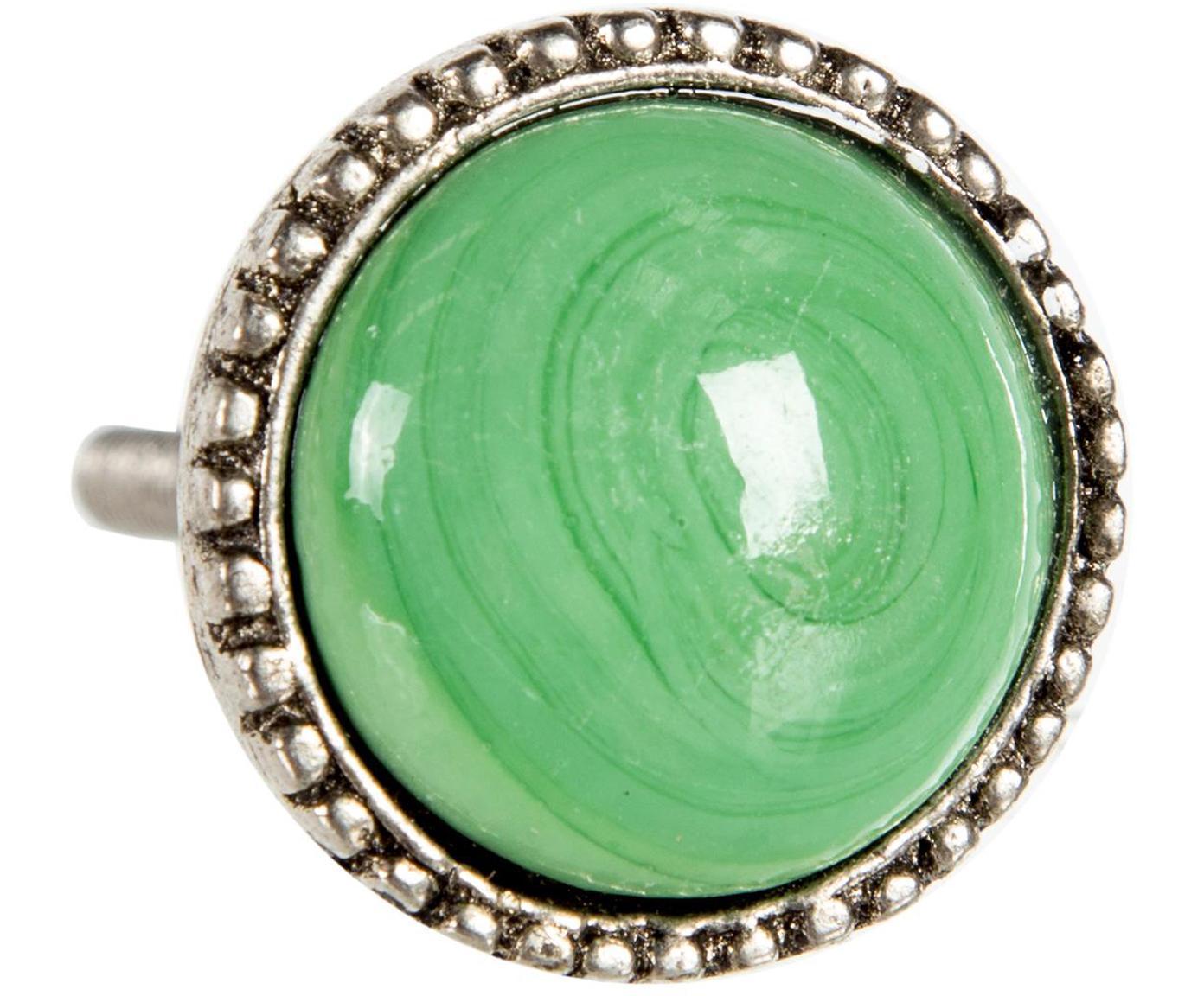 Tirador Brunomania, Cerámica, metal, Verde, Ø 3 cm