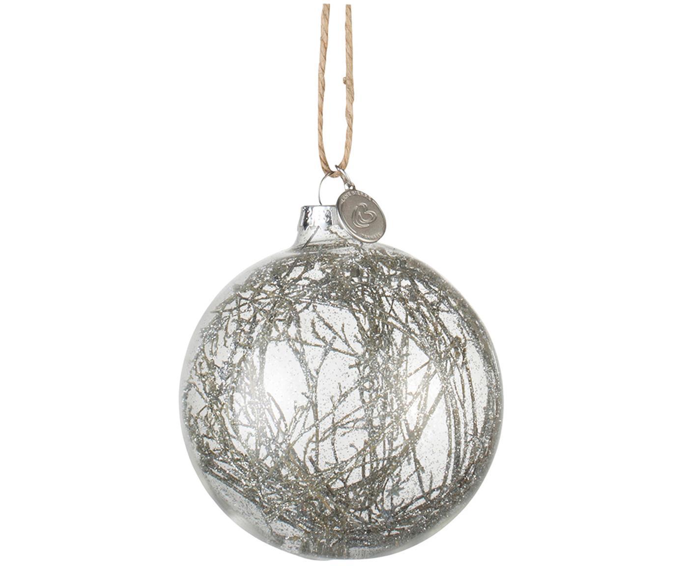 Kerstballen Mernia, 2 stuks, Ophanglus: jute, Transparant, zilverkleurig, Ø 8 cm