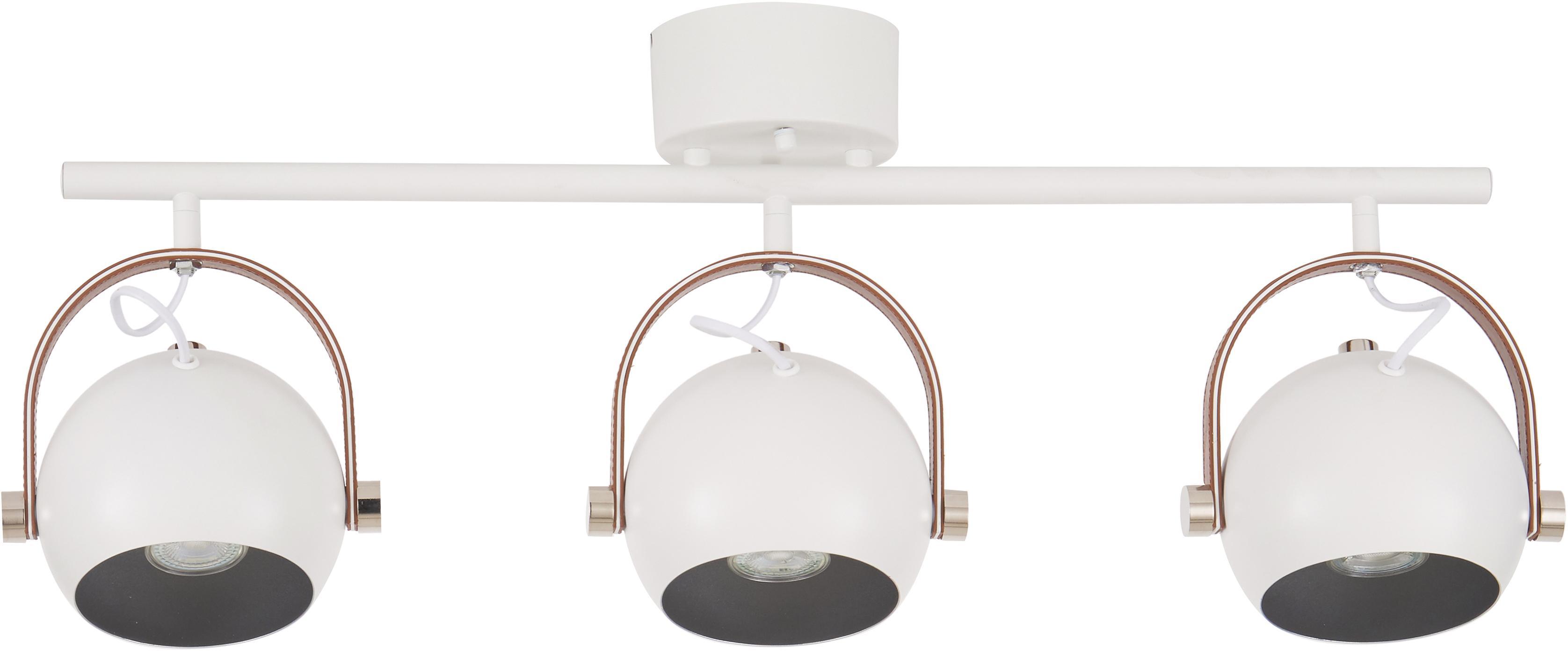 Faretti da soffitto industrial Bow, Bianco, Larg. 76 x Alt. 28 cm
