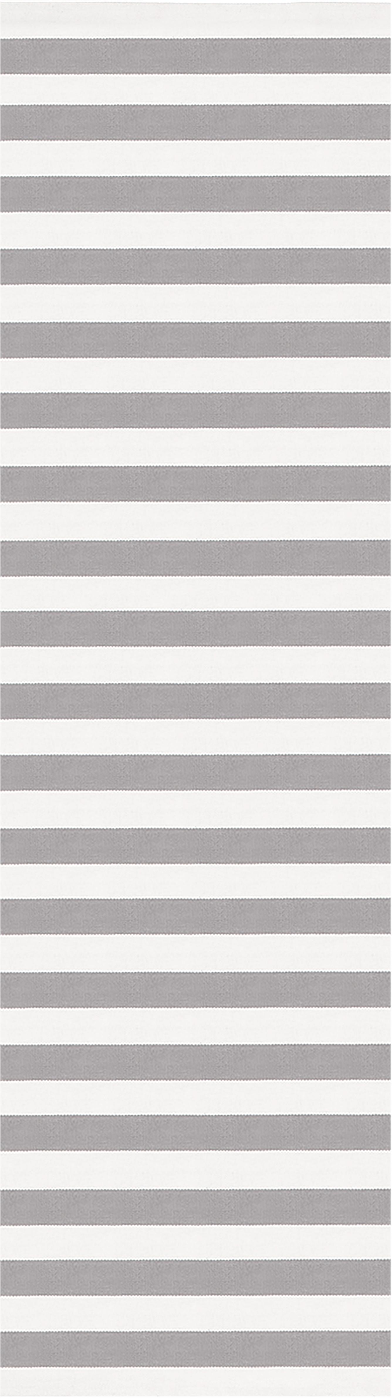 Passatoia in cotone tessuta a mano Blocker, Cotone, Bianco crema/grigio chiaro, Larg. 70 x Lung. 250 cm