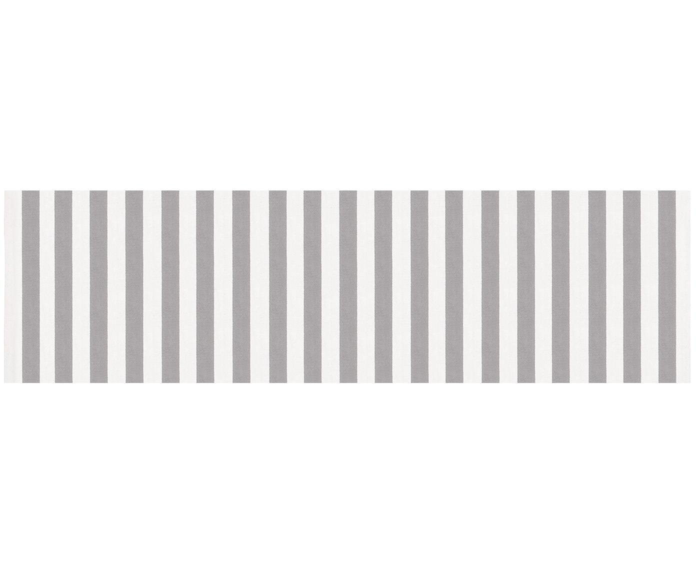 Alfombra artesanal de algodón Blocker, Algodón, Blanco crema, gris claro, An 70 x L 250 cm