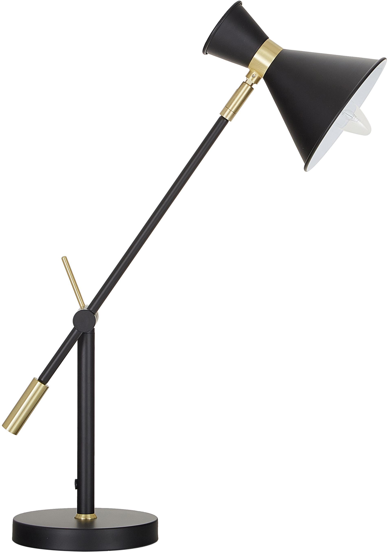 Grosse Schreibtischlampe Audrey mit Gold-Dekor, Lampenschirm: Metall, pulverbeschichtet, Dekor: Metall, vermessingt, Mattschwarz, ∅ 15 x H 68 cm