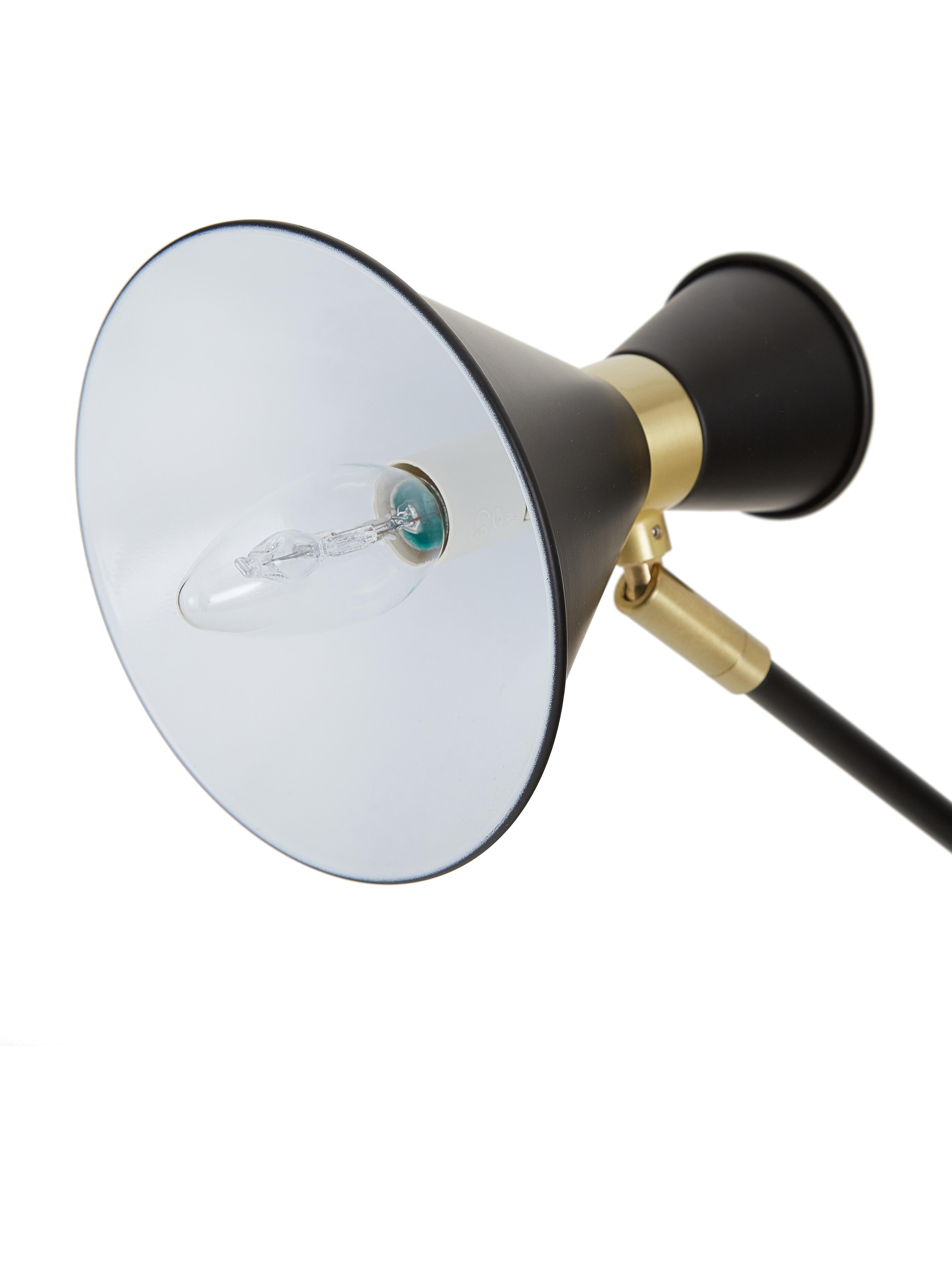 Schreibtischlampe Audrey mit Gold-Dekor, Lampenschirm: Metall, pulverbeschichtet, Dekor: Metall, vermessingt, Lampenfuß: Metall, pulverbeschichtet, Mattschwarz, ∅ 15 x H 68 cm