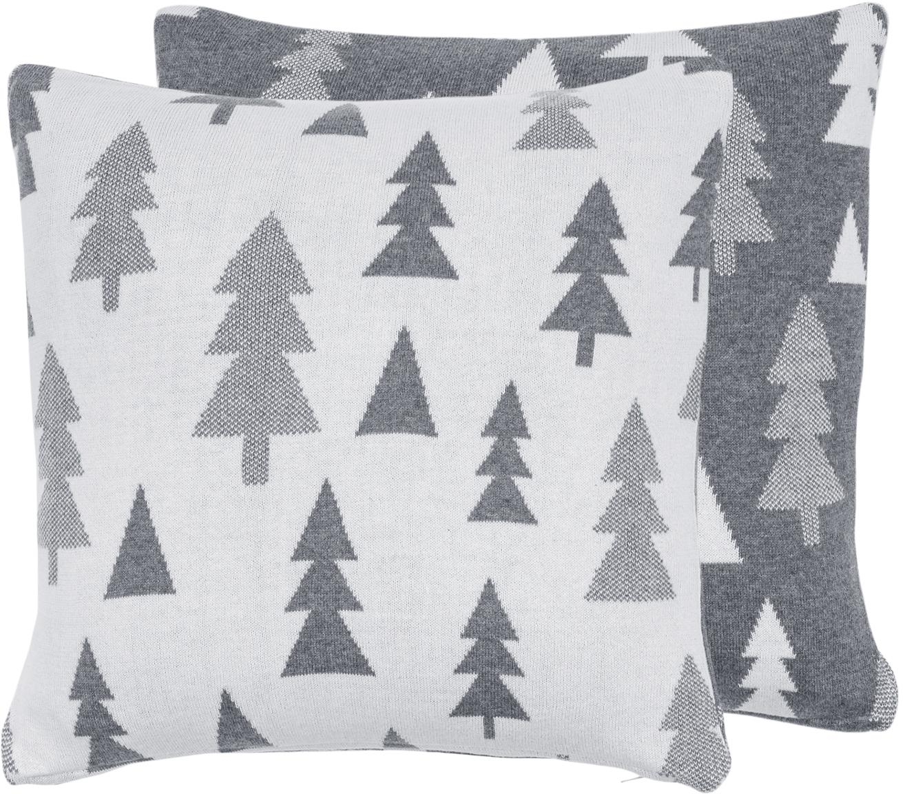 Federa arredo reversibile lavorata a maglia Joss, Cotone, Grigio, crema, Larg. 40 x Lung. 40 cm