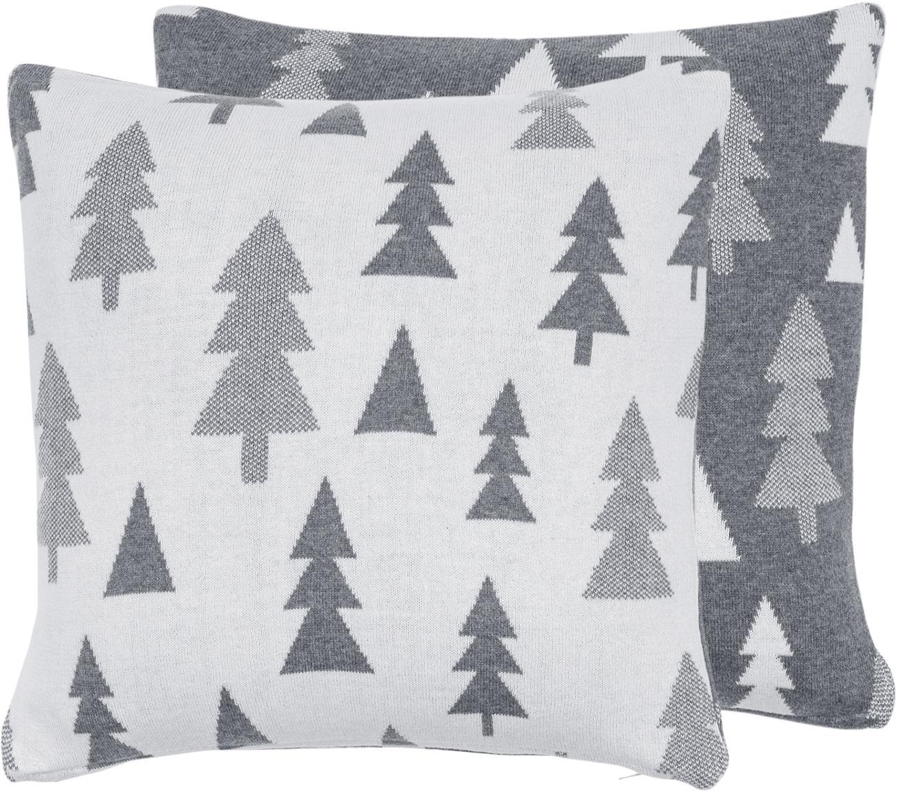 Strick-Wendekissenhülle Joss mit Tannenbäumen, Baumwolle, Grau, Cremeweiß, 40 x 40 cm