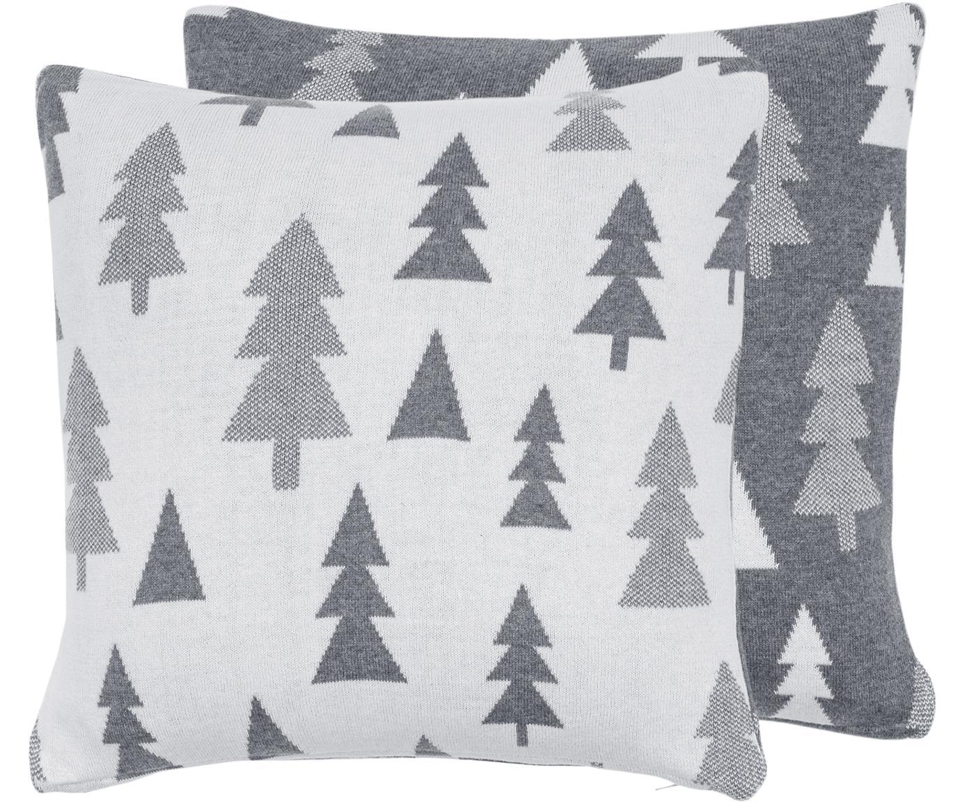 Dwustronna podszewka na poduszkę z dzianiny Joss, 100% bawełna, Szary, kremowobiały, S 40 x D 40 cm