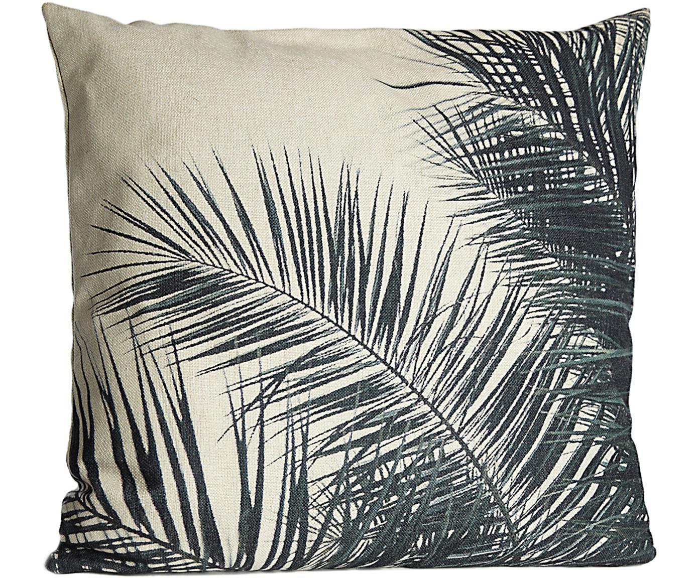 Kussenhoes Pesja met bladpatroon, Polyester, Crèmekleurig, zwart, 45 x 45 cm
