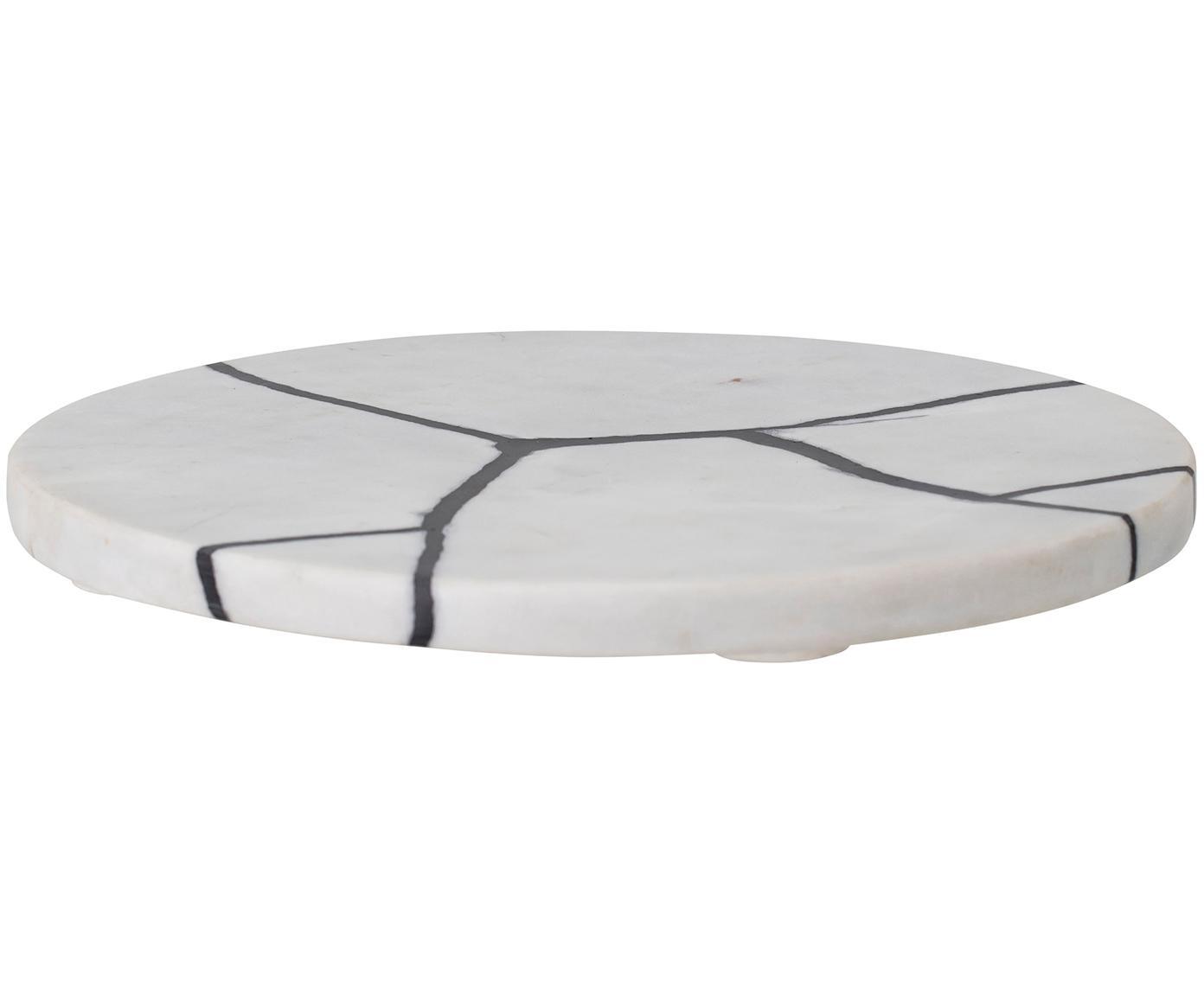 Marmeren serveerplateau Isadora, Marmer, polyresin, Wit, gemarmerd, zwart, Ø 21 cm