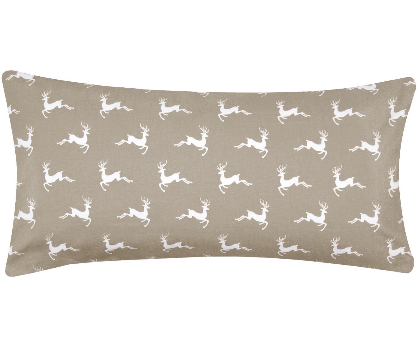 Flanell-Kissenbezüge Rudolph mit Rentieren, 2 Stück, Webart: Flanell Flanell ist ein s, Beige, Weiß, 40 x 80 cm