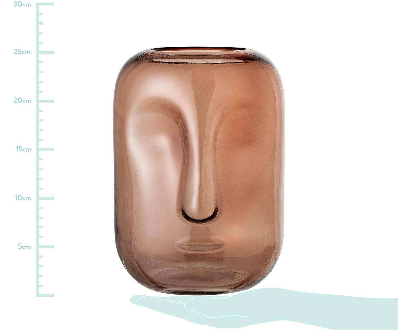Glas-Vase Face, Glas, Braun, transparent, Ø 18 x H 25 cm