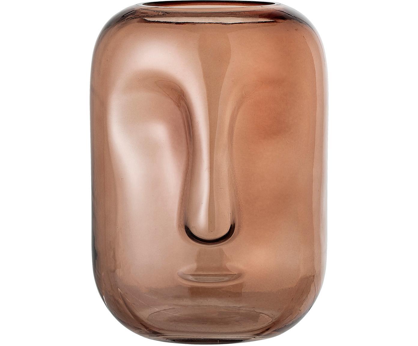 Jarrón  de vidrio Face, Vidrio, Marrón, transparente, Ø 18 x Al 25 cm