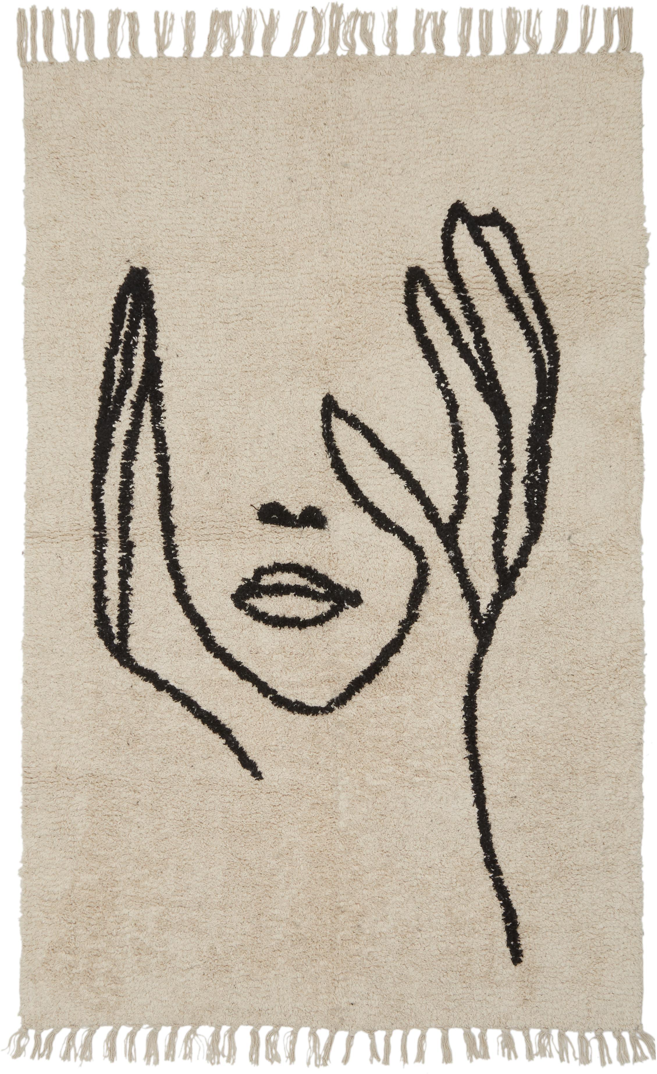 Tappeto con disegno astratto Face, Marrone chiaro, nero, Larg. 100 x Lung. 150 cm (taglia XS)