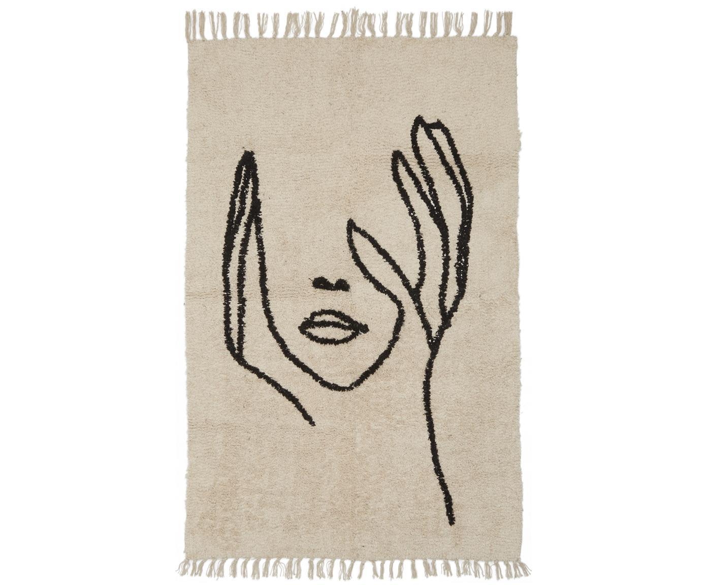 Teppich Face mit abstrakter Zeichnung, Beige, Schwarz, B 100 x L 150 cm (Grösse XS)