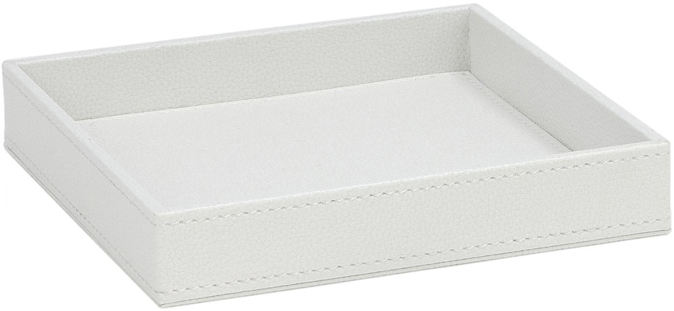 Deko-Tablett Server, Rahmen: Mitteldichte Holzfaserpla, Bezug: Polyurethan, Weiß, B 18 x T 18 cm