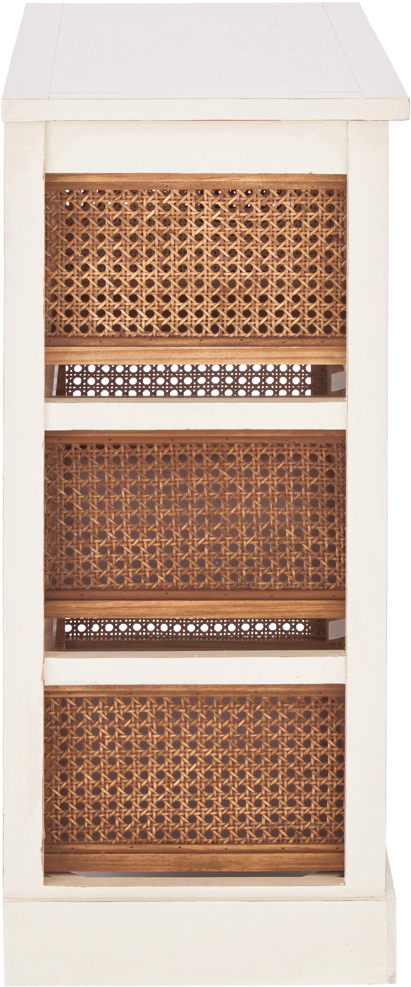 Rattan-Kommode Bantu mit Schubladen, Korpus: Kiefernholz, cremeweiss l, Cremeweiss, Braun, 74 x 77 cm