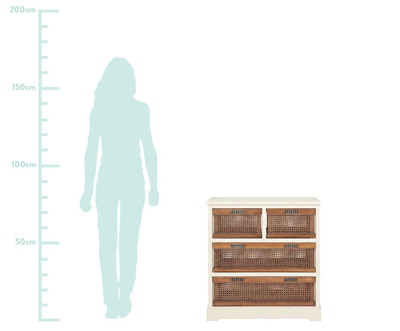 Szafka z rattanu z szufladami Bantu, Korpus: drewno sosnowe, kremowobi, Kremowobiały, brązowy, S 74 x W 77 cm